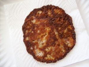 Fried provolone cheese to use as a bacon substitute