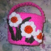 large crocheted easter basket