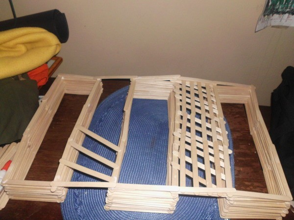Popsicle Stick Shelf - continue attaching backing