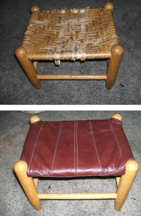 Stool fixed up using a leather jacket.