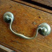 Closeup of drawer pull.