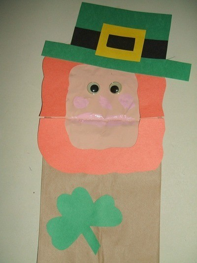 Leprechaun puppet made with a paper bag.