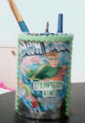 Recycle Cans and Packaging Into Storage Containers - decorate with a juice pouch.