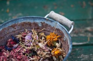 Adding Scent to Old Potpourri, Dried Flowers in Container