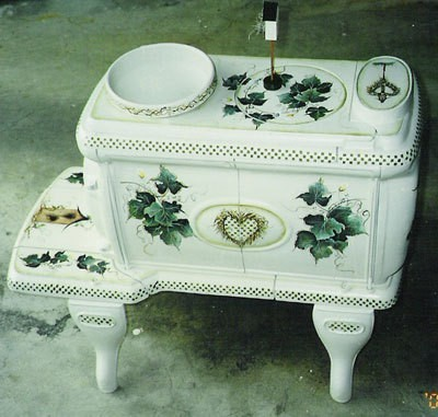 Painted decorative wood stove.