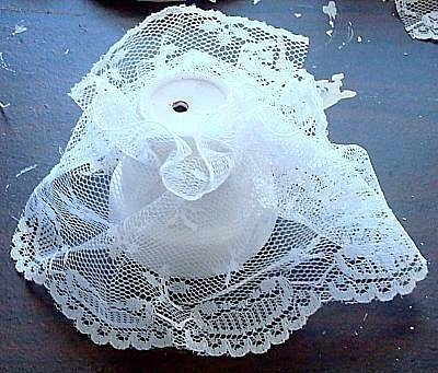 Painted White Pot With Lace Attached