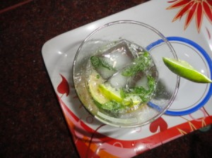 Lemon Mint Crusher beverage from above, with mint in the ice cubes.