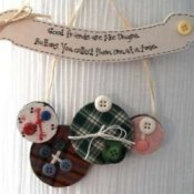 Button and fabric wall hanging.