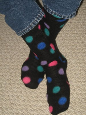 Polka dot fleece socks.