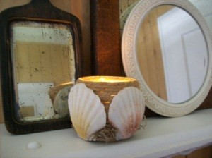 Twine-Wind Your Votive Glass and then decorate with seashells.