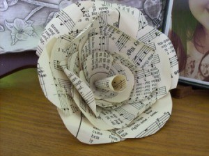 Paper Flowers From Old Books, close up