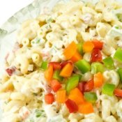 Macaroni Salad With Chopped Peppers on Top