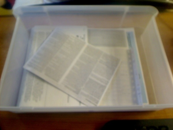 Collecting Important Tax Documents in one drawer.