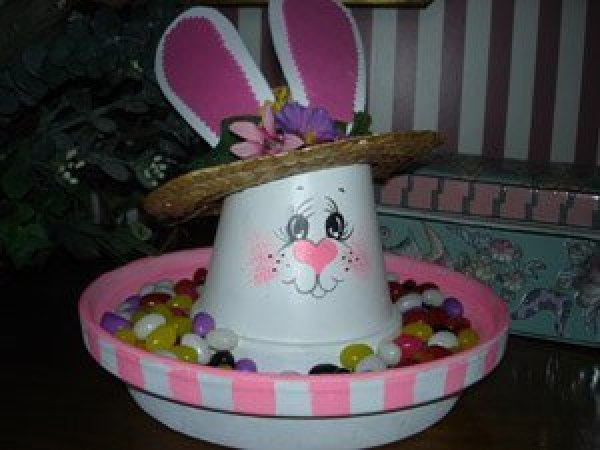 Making A Clay Pot Easter Bunny Candy Dish Thriftyfun