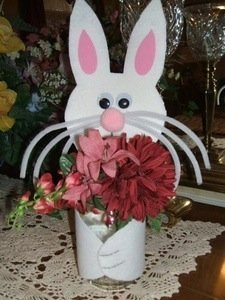 Bunny vase made from glass jar.