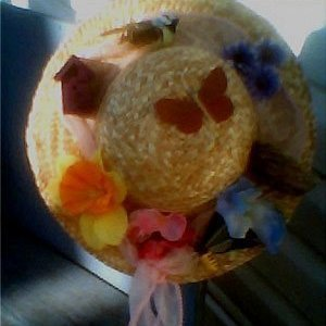 Straw hat spring decoration.