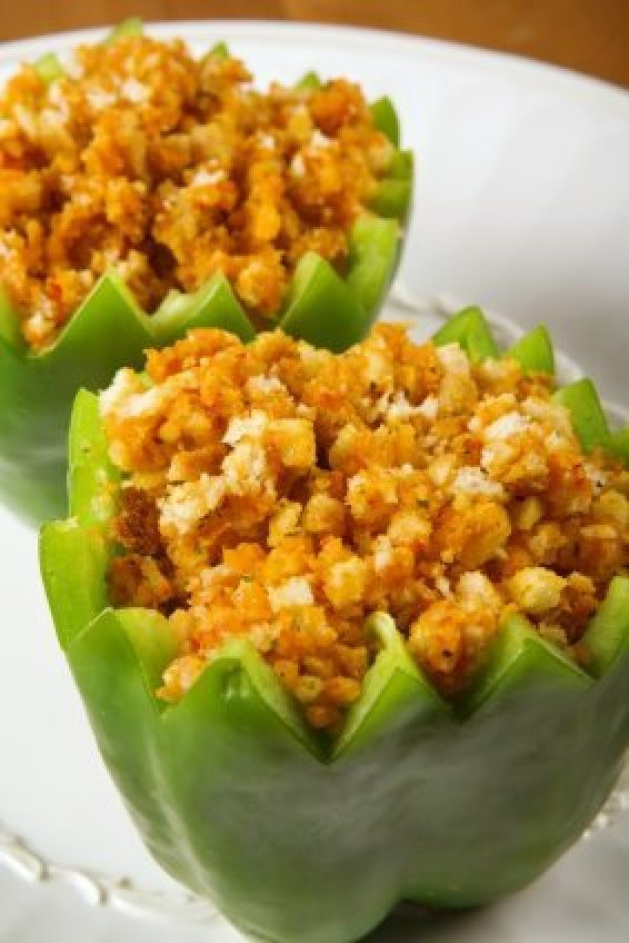 Stuffed Green Peppers With Corn Bread