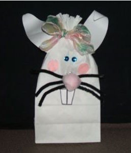 White paper bag bunny.