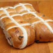 Hot Cross Buns on Wood Board