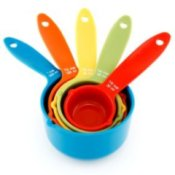 Stack of colorful measuring cups