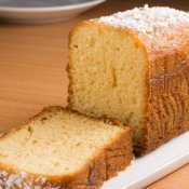 Pound Cake on Wooden Table