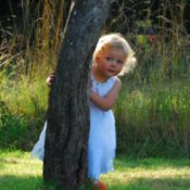 Flower Girl Hiding Behind Tree (Merville, BC)