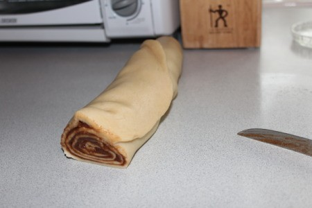 cinnamon batter and filling rolled together.