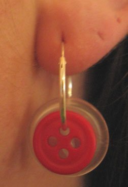 Button hoop earring