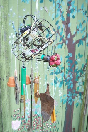 Recycled Garden Wind Chimes hanging outside.