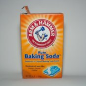Box of Baking Soda on White Background