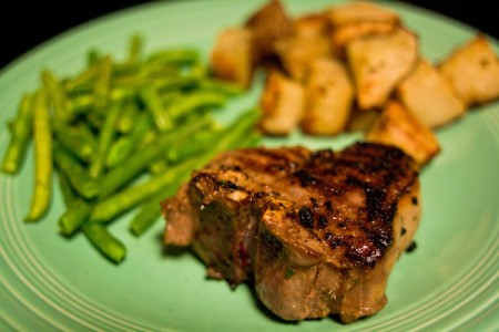 Lamb Chop Dinner With Potatoes and Green Beans