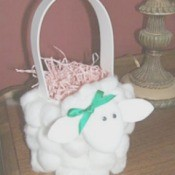 Cotton ball lamb Easter basket.