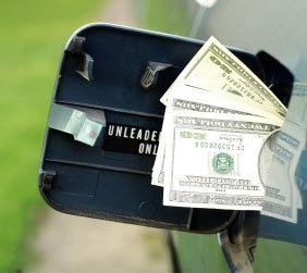 Gas Tank With Cash Stuffed in it