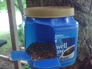 Coffee container bird feeder.