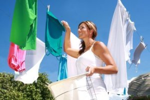 Woman Hanging Clothes Out to Dry