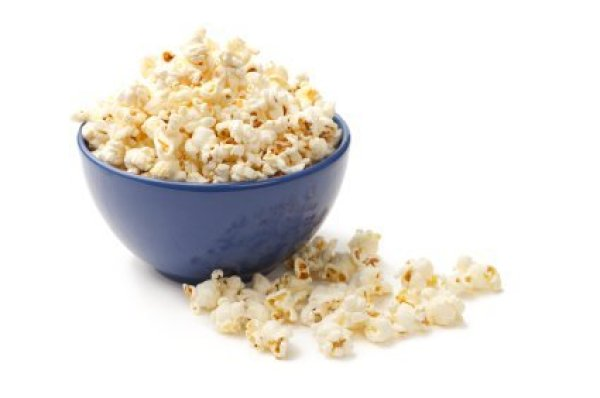 Popcorn in Blue Bowl