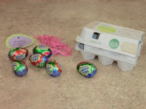 Supplies needed for Cadbury egg gift.