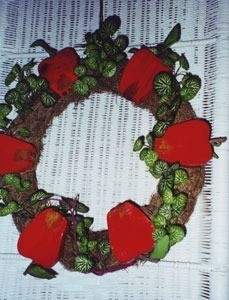 Wooden apple wreath