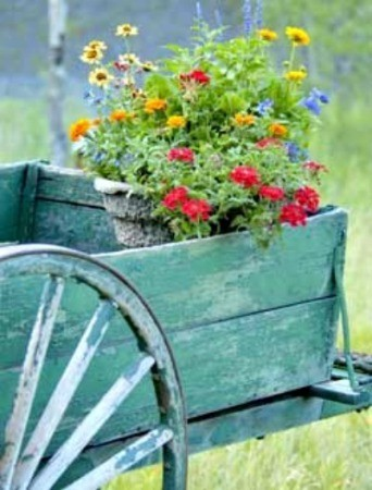 Wagon with potted Flowers