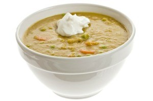 Split Pea Soup in White Bowl
