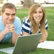 College Students Studying Outside