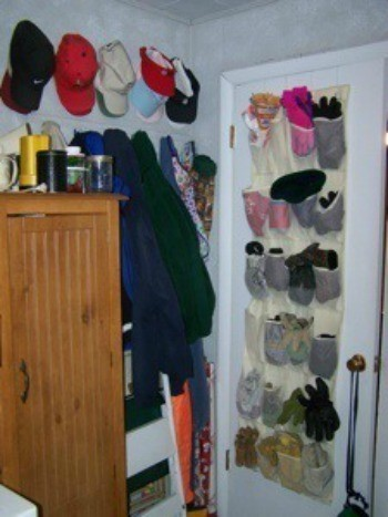 Hats and Gloves in Over the Door Shoe Organizers