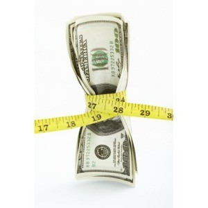 Money Being Cinched by Measuring Tape