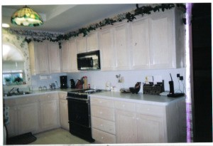 Wall of kitchen cabinets
