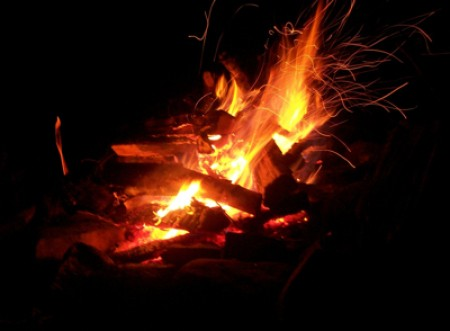 Scenery: Campfire in New Hampshire, at night
