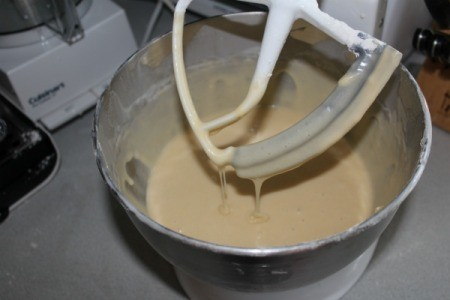 Coconut Cake batter in mixer