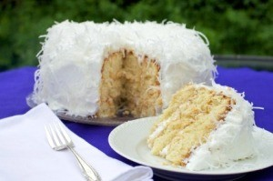 Coconut Cake on Purple Table Cloth