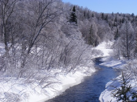 Crystal Trees and Snowy Banks along a Brilliant Blue River