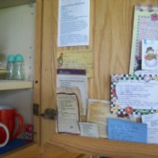 Recipes tucked inside cabinet door.