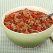 Hamburger Soup in Green Bowl